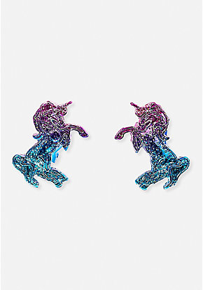 Ombre Sparkle Unicorn Clip-On Earrings