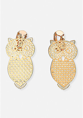 Filigree Owl Clip-On Earrings