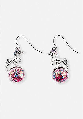 Unicorn Shaky Glitter Globe Earrings