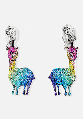 Sparkle Llamacorn Clip-On Earrings