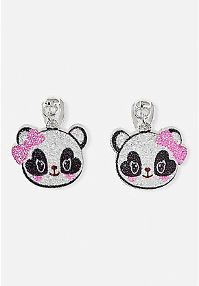 Sparkle Panda Clip-On Earrings