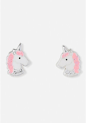 Crystal Unicorn Sterling Silver Stud Earrings