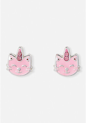 Crystal Caticorn Sterling Silver Stud Earrings