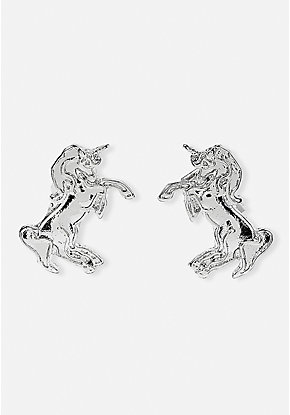 Silvertone Unicorn Clip-On Earrings