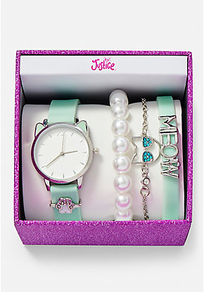 Mint Kitty Watch & Bracelet Set