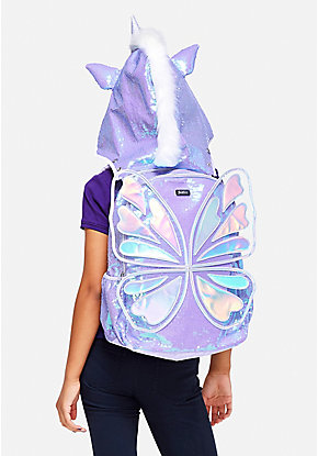 Butterfly Unicorn Hooded Backpack