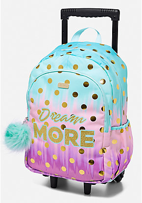 Dream More Ombre Floral Dot Rolling Backpack