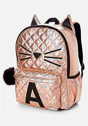Quilted Cat Initial Backpack