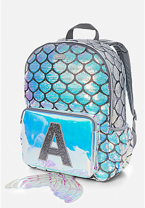 Mermaid Tail Initial Sequin Backpack