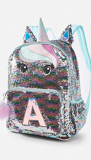 Pastel Unicorn Flip Sequin Initial Backpack Justice