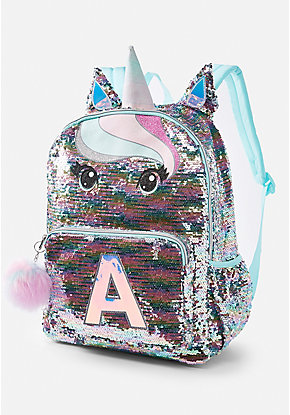 Pastel Unicorn Flip Sequin Initial Backpack 110b22835b270