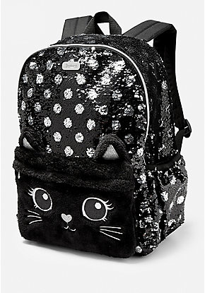Black Cat Flip Sequin Backpack