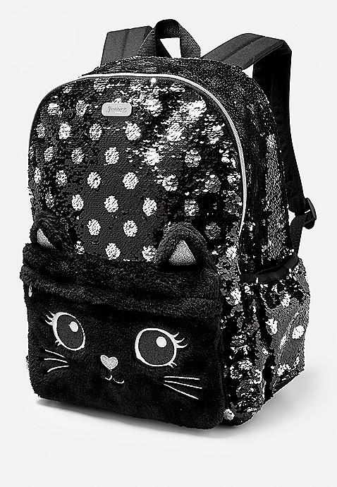 Black Cat Flip Sequin S Backpack