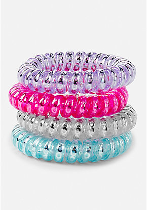 Sequin Spiral Hair Ties - 4 Pack