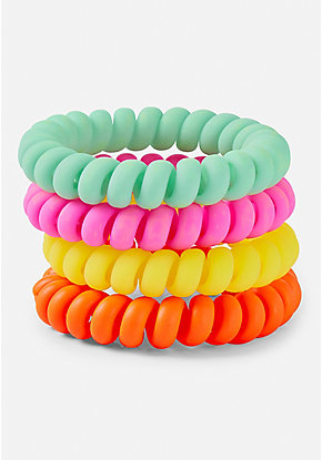 Rainbow Bright Spiral Hair Ties - 4 Pack