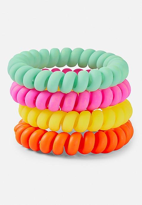 Rainbow Bright Spiral Hair Ties - 4 Pack  d531685f1f0