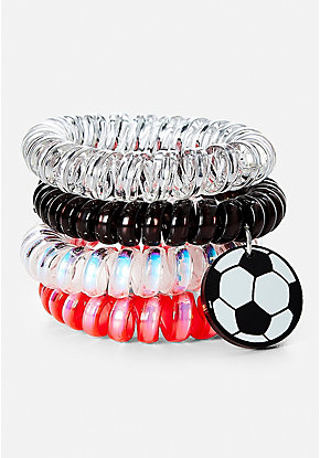 Soccer Spiral Hair Ties - 4 Pack