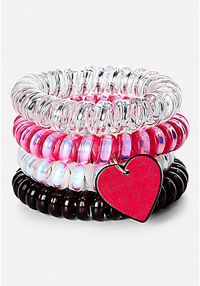 Heart Spiral Hair Ties - 4 Pack