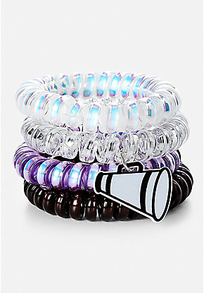 Cheer Spiral Hair Ties - 4 Pack