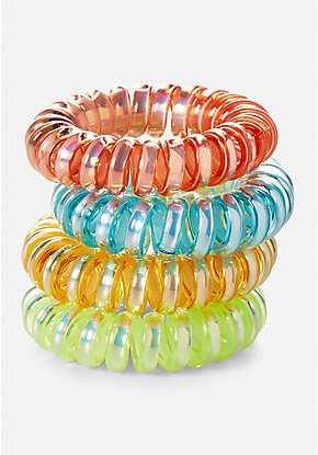 Mini Spiral Hair Ties - 4 Pack
