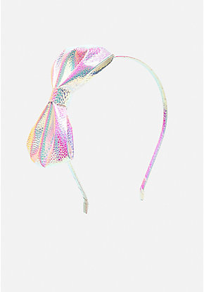 Pink Iridescent Bow Headband