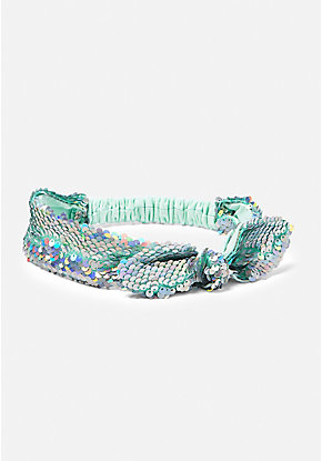 Mint Flip Sequin Knot Headwrap
