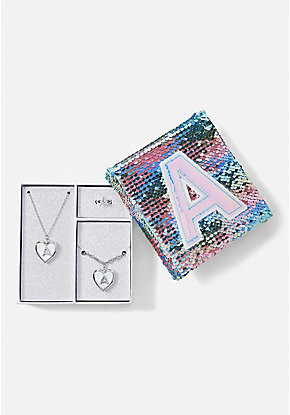 Flip Sequin Initial Jewelry Box Set