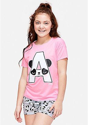 ff65ba365b44 Panda Initial Pajama Set