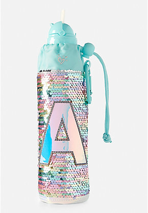 Pastel Flip Sequin Initial Sleeved Water Bottle