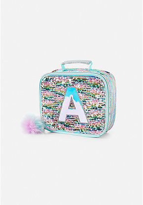 Pastel Unicorn Flip Sequin Initial Lunch Tote