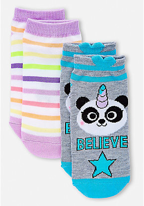 Pandacorn & Stripe Socks - 2 Pack