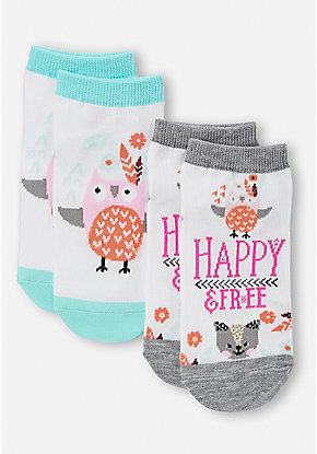 Happy & Free Critter Socks - 2 Pack