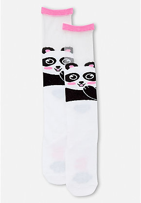 Sheer Panda Knee High Socks