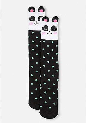 Panda Polka Dot Knee High Socks