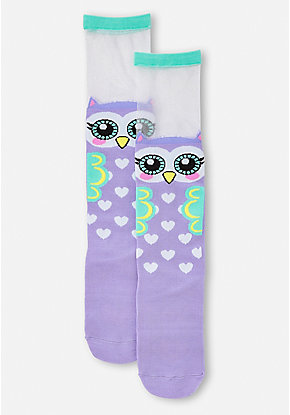 Sheer Owl Knee High Socks