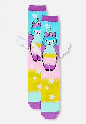 Llamacorn Wing Knee High Socks