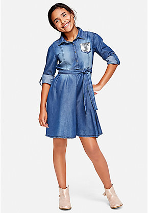 Denim Flip Sequin Shirt Dress