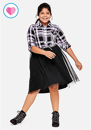 Plaid Flip Sequin Pocket Tutu 2fer Dress
