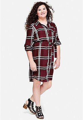 Plaid Jeweled Pocket Shirt Dress