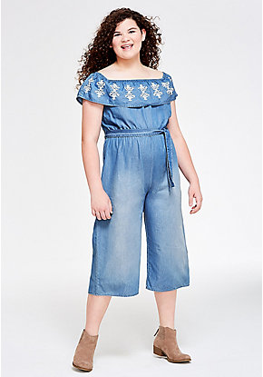 Embroidered Flounce Denim Jumpsuit