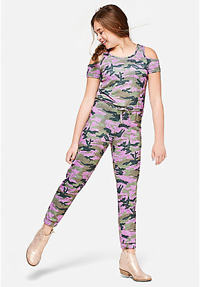 Camo Cold Shoulder Jumpsuit