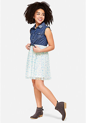 Denim Jewel 2fer Dress