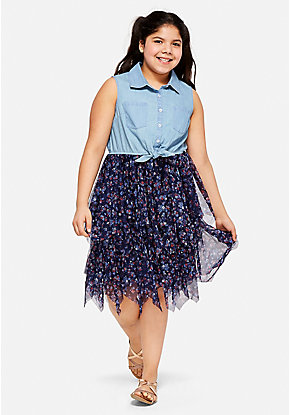 Denim Ruffle 2fer Dress