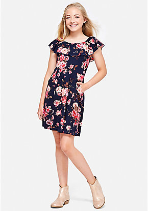 Floral Ruffle A-Line Dress