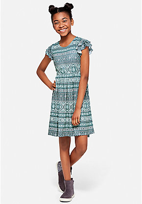 Print Flutter Sleeve Dress