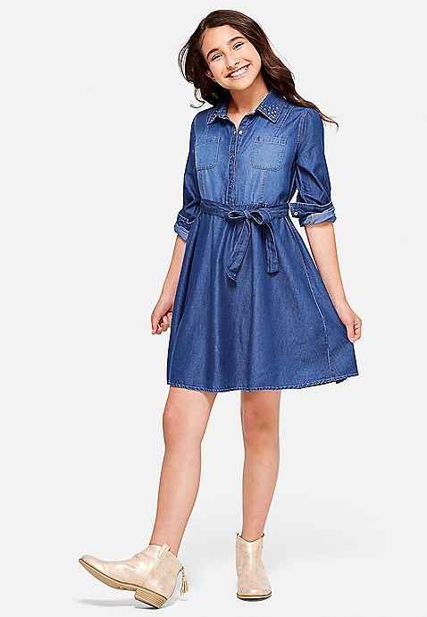7da0fb4e94a ... Rhinestone Collar Denim Shirt Dress. Previous Next