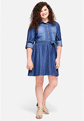 Rhinestone Collar Denim Shirt Dress