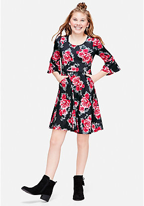 Print Bow Back Dress