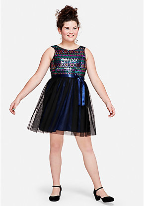 Geo Sequin A-Line Dress
