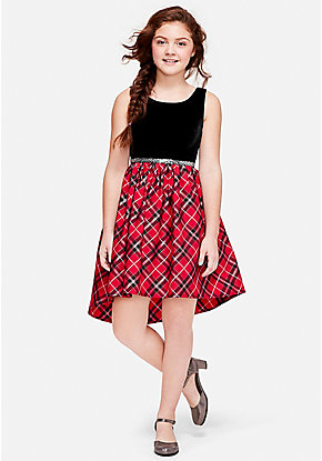 Velvet Plaid A-Line Dress